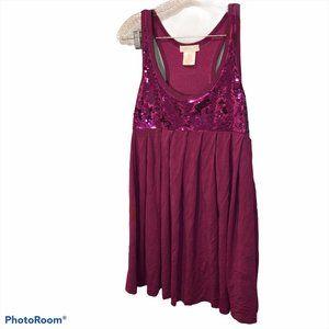 La Rok ASNEW raspberry sequin tank dress M